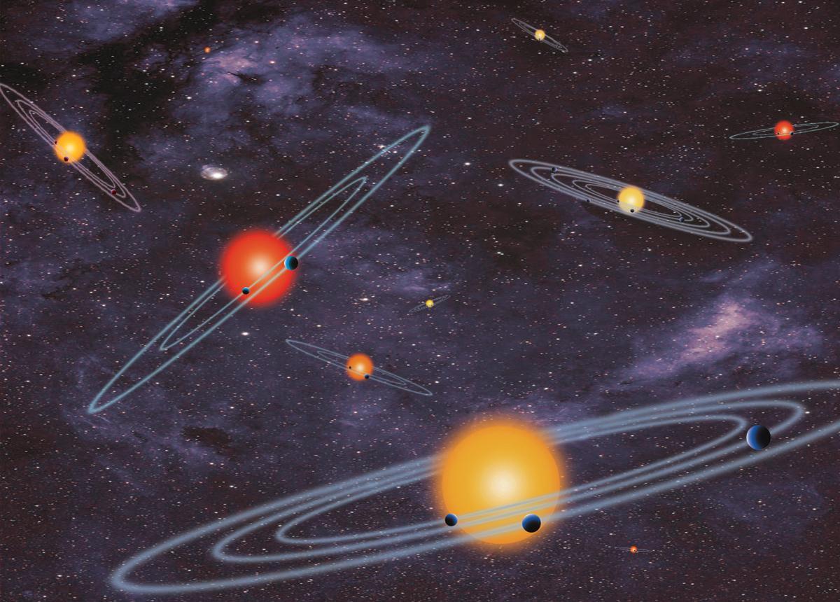 Schematische Darstellung der Bahnen in Planetensystemen, die mit der Transitmethode entdeckbar sind (NASA)Abbildung gemeinfrei, via Wikipedia s.v. Exoplanet