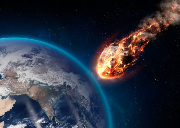 Meteor glowing as it enters the Earth's atmosphere. Elements of this image furnished by NASA